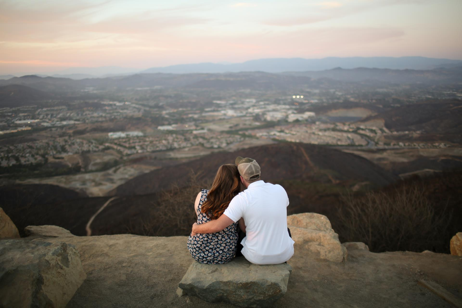 Couple enjoys the views from Double Peak Park
