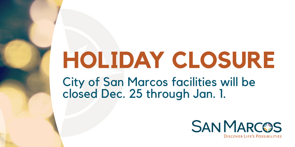 City facilities closed for the holidays