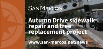 Autumn Drive sidewalk repair and tree removal work reminder graphic