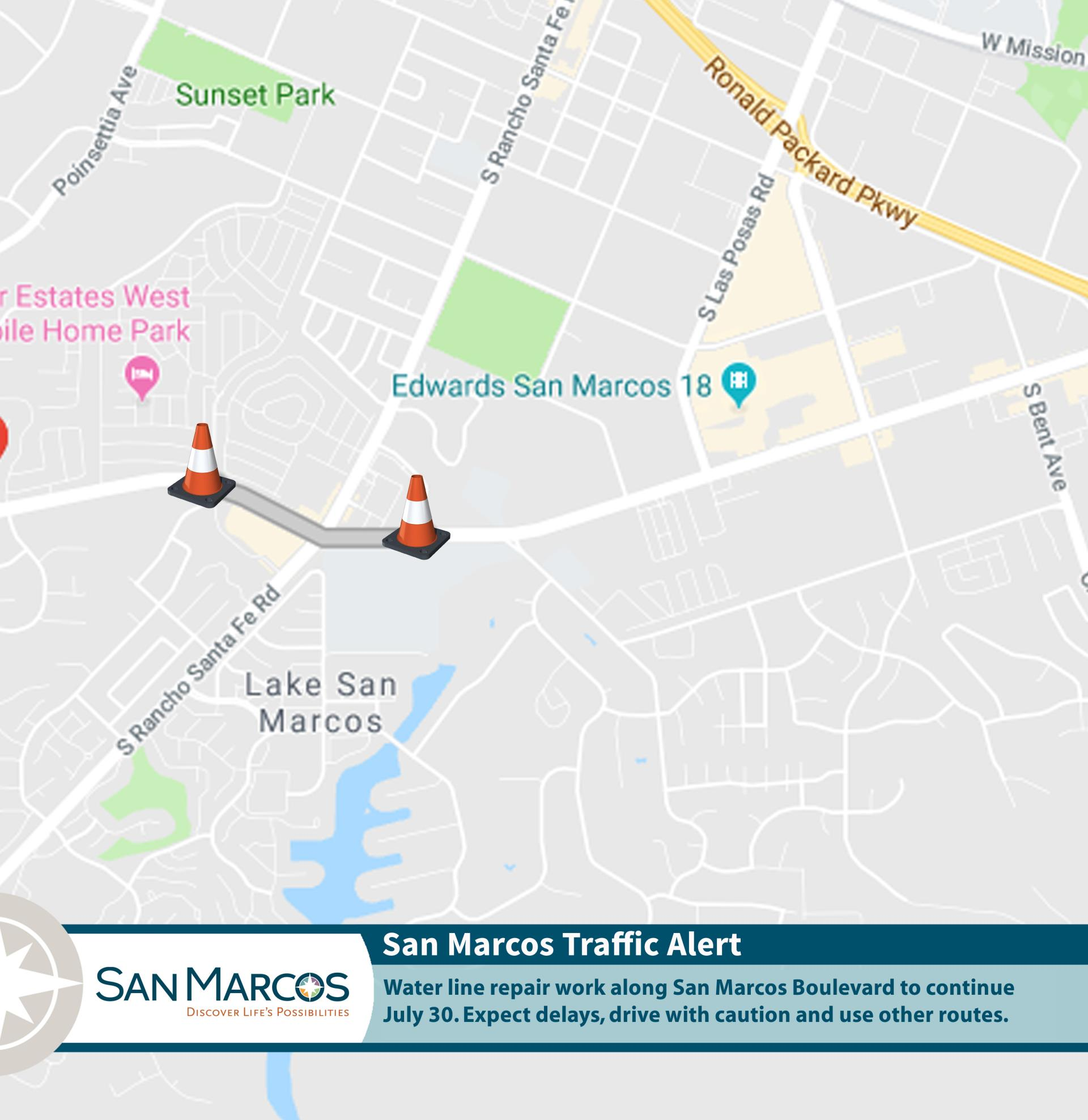 Mapped traffic alert for San Marcos Boulevard on July 30