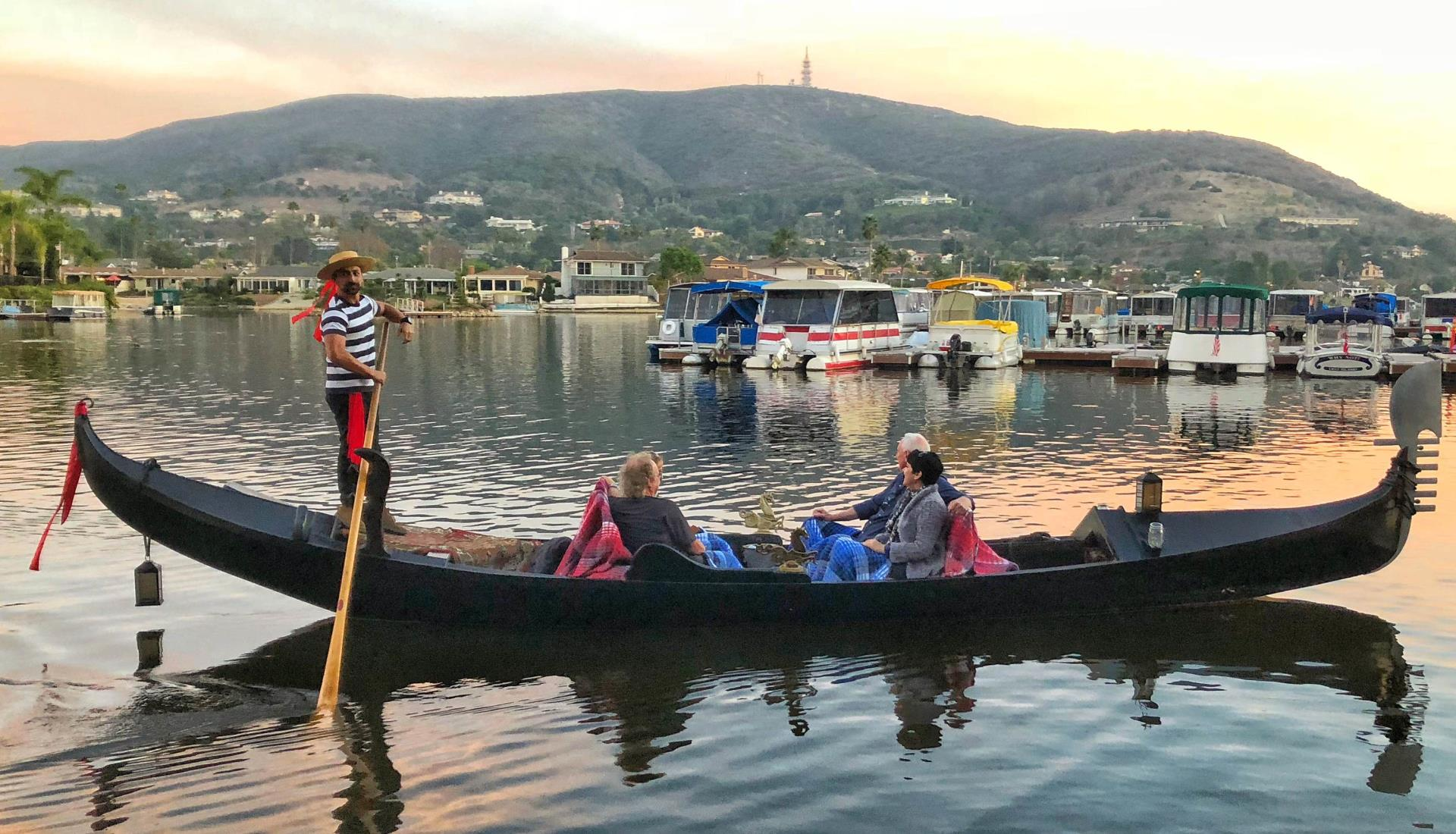 Lake San Marcos Gondola at Sunset by Douglas Vigon