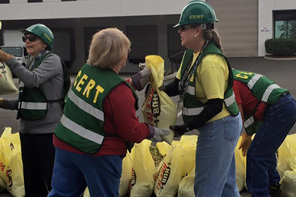 CERT workers preparing for emergency