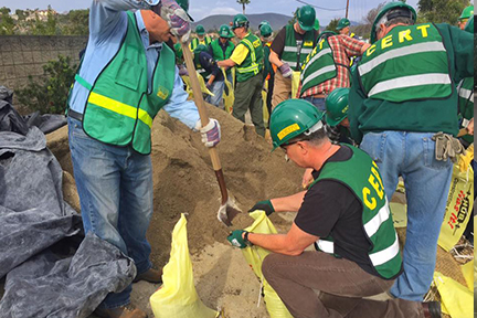 CERT workers filling sandbags